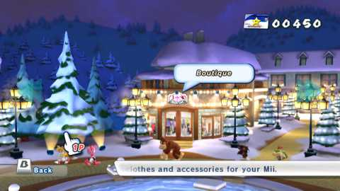 You can shop for various gear in Mario & Sonic at the Olympic Winter Games.