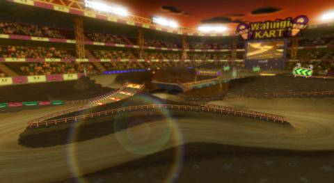 Waluigi Stadium from Mario Kart Wii.