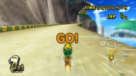Koopa Troopa gets a rocket start as seen in Mario Kart Wii.