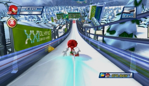 Knuckles is ready for takeoff in the Ski Jumping event.