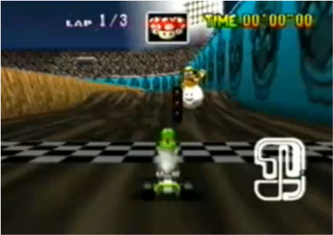 As seen in Mario Kart 64 with Yoshi, who is ready to go.