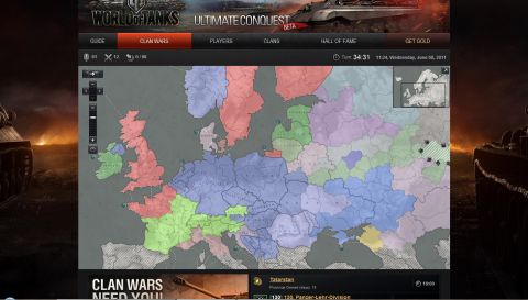 The Clan Battles add-on with the map of the provinces
