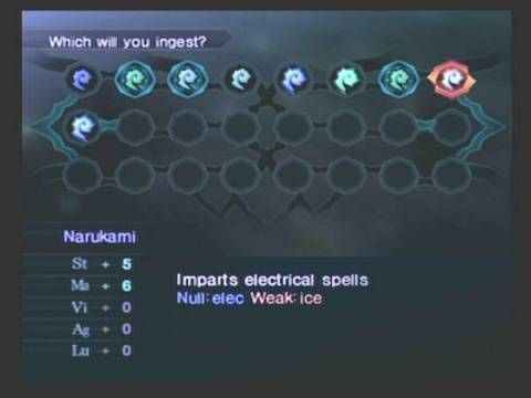 Magatama select screen