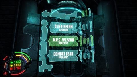 In-game upgrade menus.