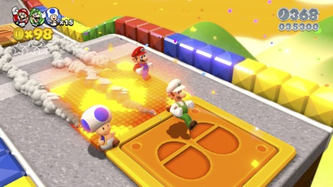 There's even a stage that's Mario Kart-themed, forcing players to run around at obnoxiously fast speeds.
