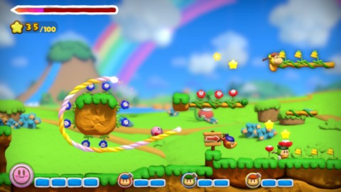 Up to three other players can join in to babysit Kirby.