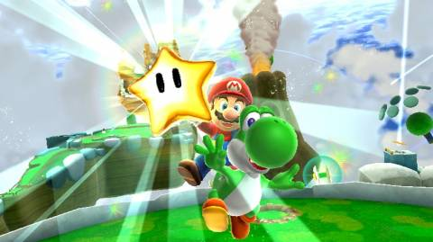 One of the Power Stars in Super Mario Galaxy 2.