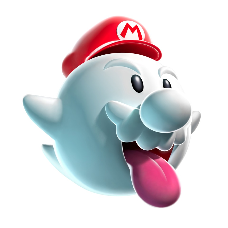 Mario under the effects of the Boo Mushroom.