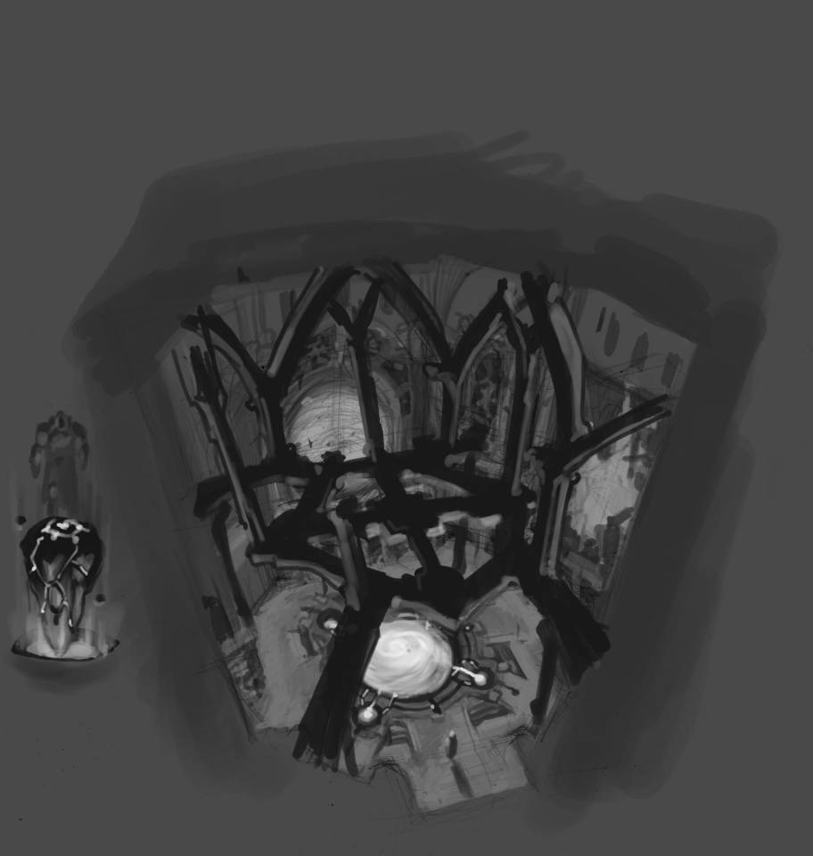 One piece of Madureira's original art for the clock tower stage, part of Darksiders's pitch demo.