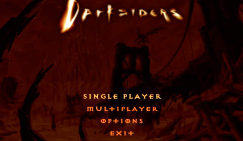 The first menu screen for Darksiders, back when multiplayer seemed like a reasonable idea.
