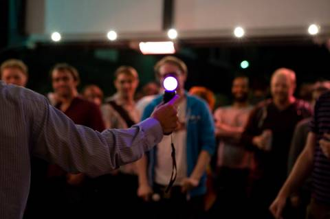 We showed off Johann Sebastian Joust on the Big Live Live Show Live in 2011. During a test run, Jeff threw a chair at me. He didn't hesitate.