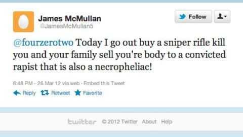 A threat sent to former Call of Duty developer Robert Bowling.