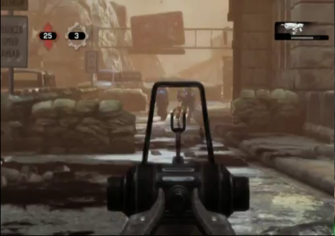 The Hammerburst's new Iron Sights ability in Gears Of War 3