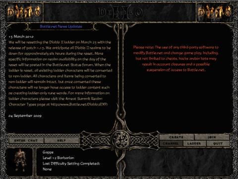 Diablo II's Battle.net interface