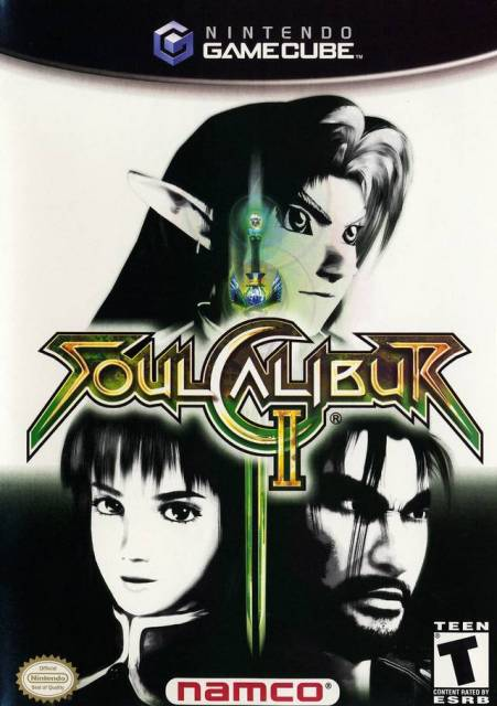Box art for the GameCube version of Soul Calibur II prominently featuring Link.
