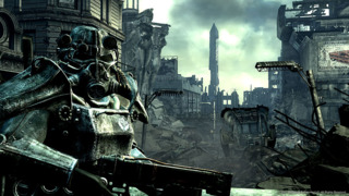 A member of The Brotherhood of Steel, as seen in Fallout 3 (note the insignia on the armor).