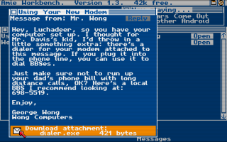 The first message that is seen in the game