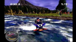 A flowing river pushes players downstream in Hotshot