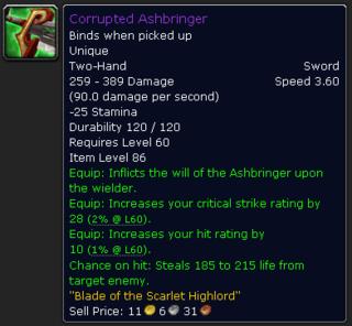 Stats of Corrupted Ashbringer in World of Warcraft.