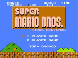 The Super Mario Bros. title screen