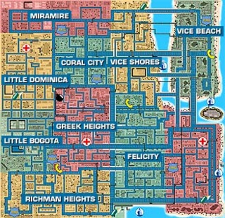 A map depicting Vice City in Grand Theft Auto