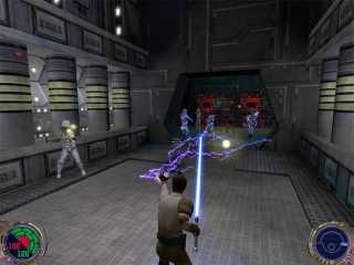 Kyle Katarn uses force lightning on stormtroopers.