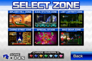 Sonic 4: Episode I's original stage select screen from the iOS version.