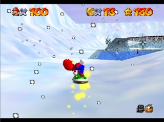 Mario surfing a shell in Super Mario 64