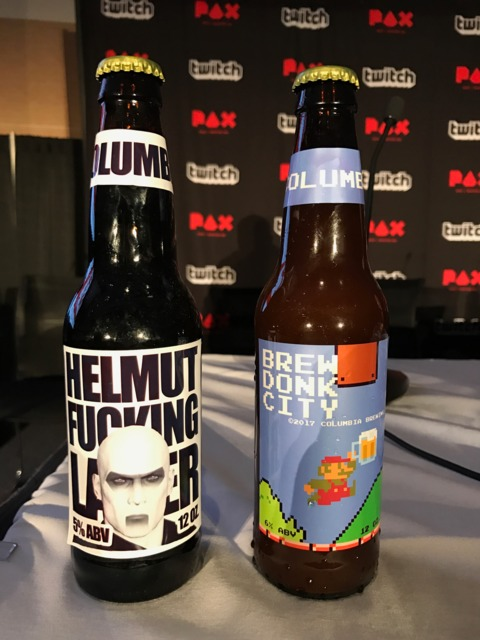 Custom beer for the Giant Bomb panel. Courtesy of Andy Hill.