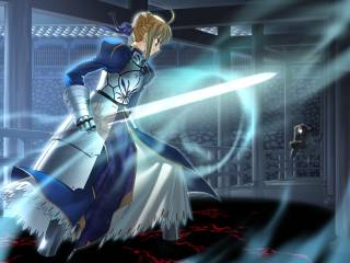 Saber trapped in the black shadow