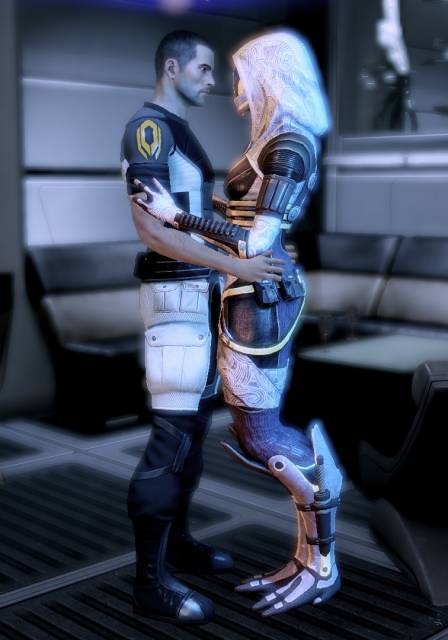 Tali becoming intimate with Shepard.
