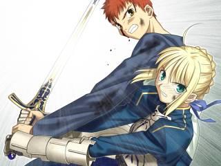 Shirou and Saber wielding Caliburn