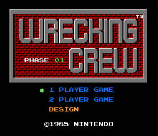 The title screen to Wrecking Crew.