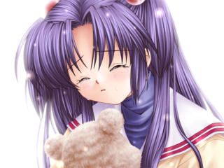 Kotomi embracing the bear plushie, her father's last gift