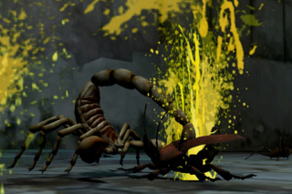 Scorpion fighting enemy insect.