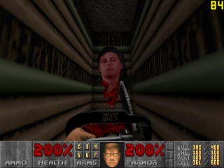 The head of John Romero in Doom II
