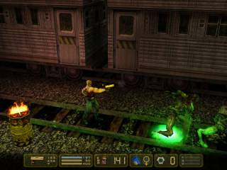 Despite being in 3D, Manhattan Project is a side-scrolling run-and-gun.