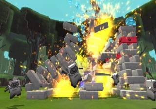 Players must make the tower of blocks fall in Boom Blox.