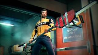 Chuck Greene, the game's protagonist, with his own invention: the Paddlesaw.
