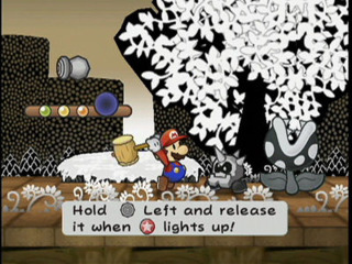 Mario engaged in combat.
