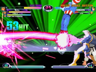 Cable with a combo that's on the low end of what's possible in MvC2.