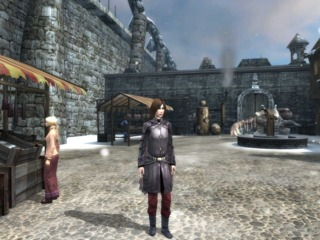 April Ryan standing in a small Marcurian market in Dreamfall
