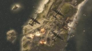 A bombing raid on Iwo Jima, landing on Mount Suribachi
