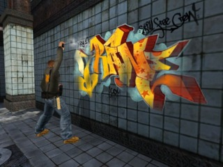 Creating graffiti is a core gameplay mechanic of Marc Ecko's Getting Up.