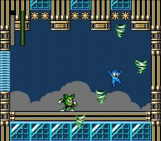 Mega Man squaring off against Tornado Man.