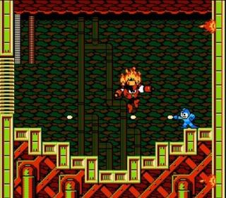 Mega Man squaring off against Magma Man.