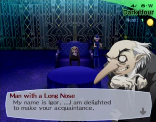 Igor as he appears in Persona 3 and Persona 3: Fes.