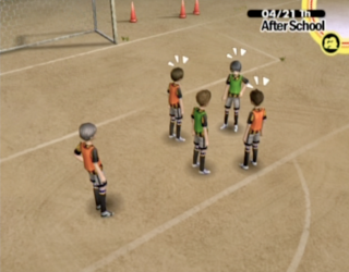 The soccer team on their regular practice routine.