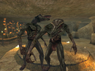 Daedroth in a Vvardenfell summoning chamber.