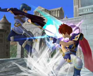 Collision of emblem swords - Marth and Roy (left to right)